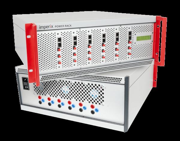 Three-phase bridge inverter modules inside a rack-mountable enclosure.