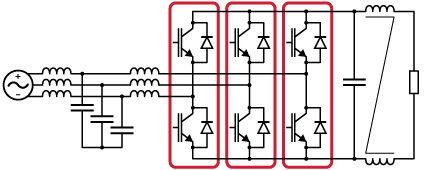 Three-phase controlled rectifier using IGBT power modules.