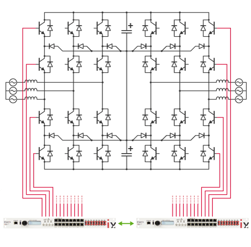 Distributed converter control for a back-to-back NPC inverter system.